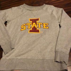 ISU sweatshirt with  rhinestones on the shoulders